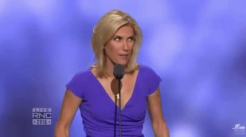 Funny GIF of Laura Ingraham realizing that she's Nazi saluting at the Republican National Convention