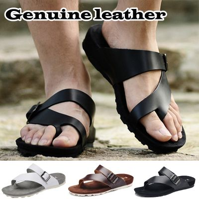 Summer Genuine Leather Men's Sandals Shoes Trend Beach Slippers Genuine Leather Insole Flip Flops Slippers Male Casual Shoes