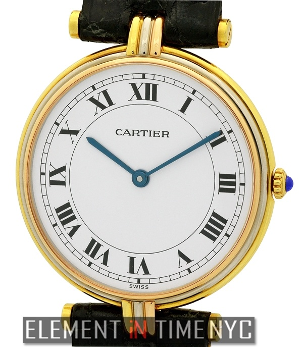 Cartier Vendome Trinity 30mm iN 18k Yellow, White And Rose Gold With A White Roman Dial (881003).