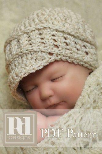 Newborn Textured Newsboy w/shells and braid trim Crochet PDF Pattern. $6.00, via Etsy.