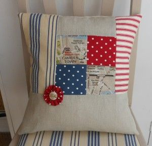 Vintage style patchwork cushion