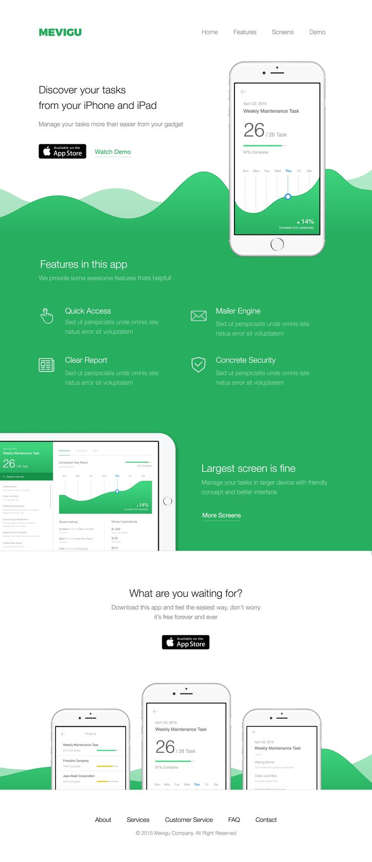 Web, landing, page, presentation, green, dark, colors, clean