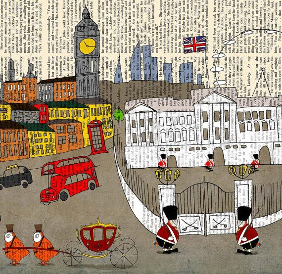 London art print large poster illustration 8x10