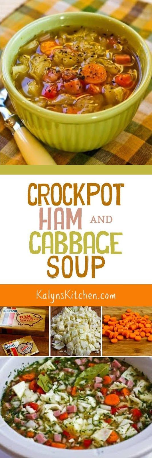 Make this Crockpot (or Stovetop) Ham and Cabbage Soup with Red Bell Pepper with leftover holiday ham, or buy some ham from the deli to make this delicious soup. If you want the lowest-carb version, omit the carrots and the soup will still be delicious!  [found on KalynsKitchen.com]