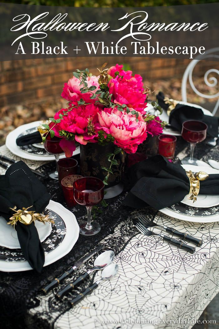 I think Halloween can be romantic! No matter if you're planning a Halloween Wedding, an evening with your sweetheart, or a fun bookclub dinner party, this Black and White Halloween Romance Tablescape has ideas to make it a night to remember!