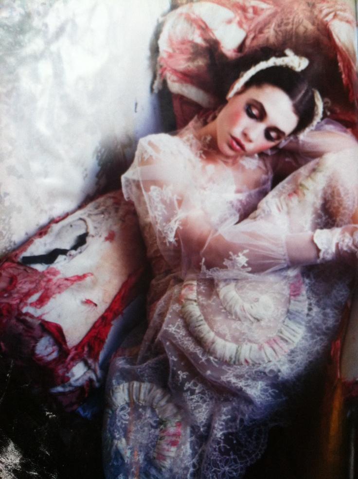 Threadbare silk and delicate lace.Vogue Italia march 2012