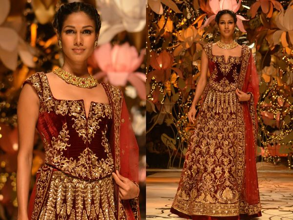 Red Bridal Lehenga Photos - Pics 239693 Check out photos of It is a heavy and glittering bridal lehenga showcased at IBFW 2013 ramp. The red velvet lehenga has golden embellishment. It has been teamed up with a matching velvet blouse and red net dupatta.
