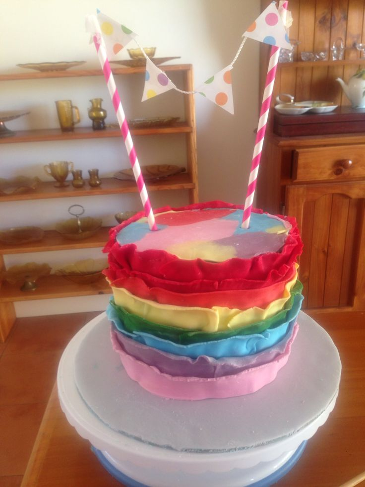 Fun rainbow layer cake