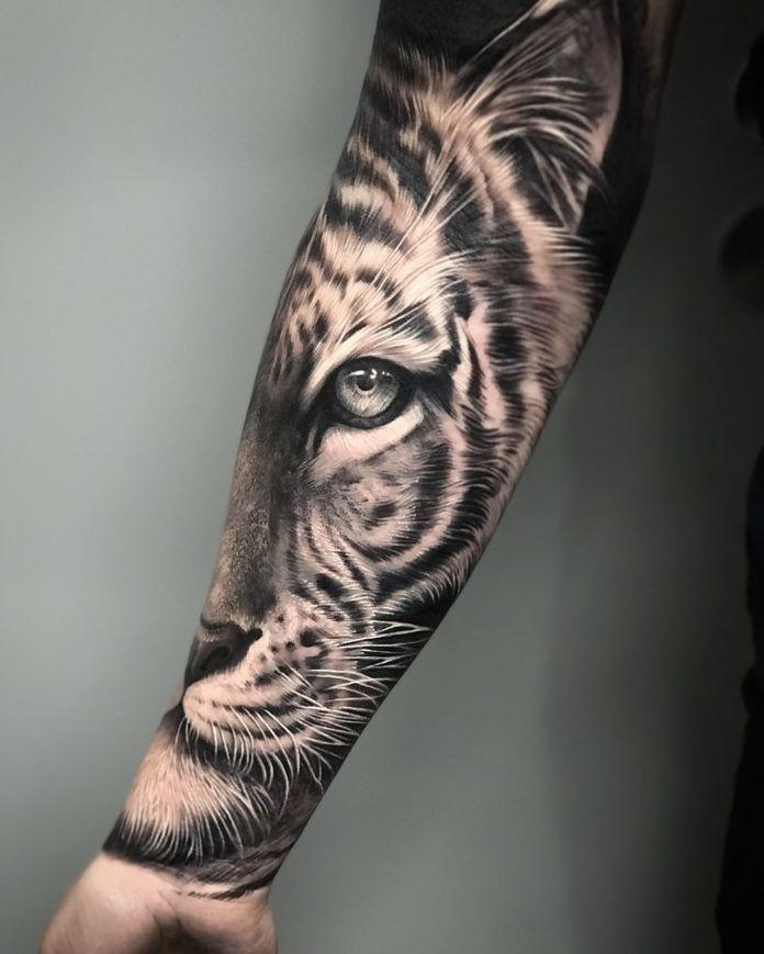 Tatouage de moitié de face de tigre sur avant bras