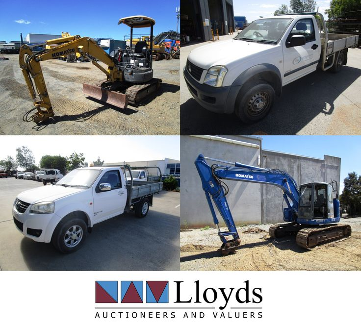 Toyota, Mazda, Isuzu and Great Wall UTES plus excavators, portable generator sets, mobile message boards, portable compressors and a ton of other Civil, Transport and Machinery Equipment! http://www.lloyds.ws/f/7800/a?utm_content=buffer30319&utm_medium=social&utm_source=pinterest.com&utm_campaign=buffer