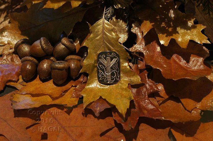 Elhaz  Rune Amulet Pendant Handmade Brass Wicca Pagan Viking Druid