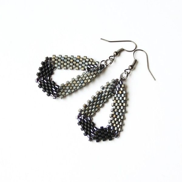 Geometric black and grey beaded earrings
