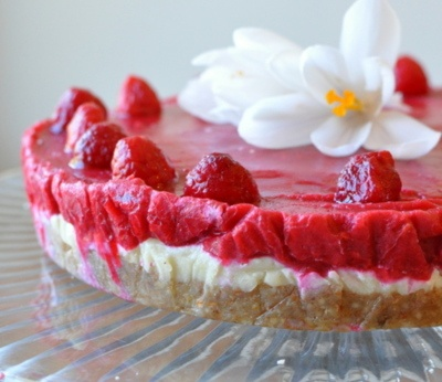 "Raw lemon-raspberry ""cheesecake"" -- vegetarian or vegan, made with raw cashew cheese -- Find the recipe here: http://rawified.blogspot.ca/2012/04/raw-lemon-raspberry-cheesecake.html"