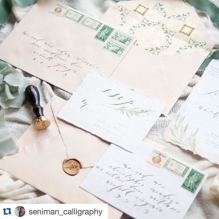Swoon! #Repost @seniman_calligraphy  Sending this pretty out to @allielindseyphotography today! Thank you @juliehacalligraphy for the goodies of @m_spradley papers!!! Feeling pretty productive until the monthly cramps set it  so now I'm all behind schedule again.....  #senimancalligraphy #styledshoot #calligraphy #moderncalligraphy #weddingcalligraphy #weddingsuite #invitationsuite #bespokeinvitations #handmade #vintagestamps #waxseals #arpa #tonoandco #olive #waxstamp #olivebranxh…