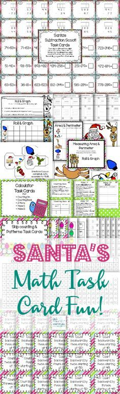Christmas Math Task Card Centers that are perfect for practicing and reviewing basic computation skills, graphing, measurement, patterning, skip-counting, and calculator fun!