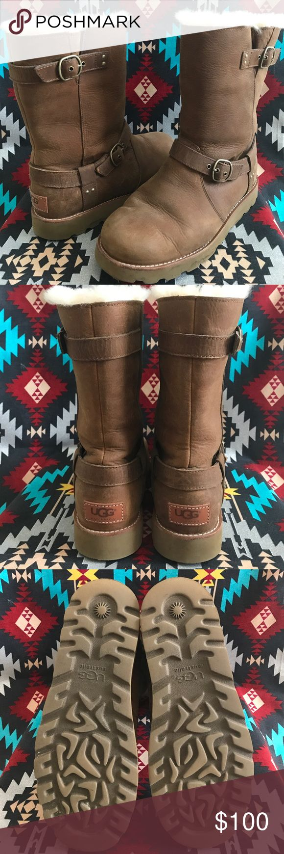 UGG Noira boots Just in time for Fall/Winter! These brown UGG sheepskin boots are waterproof, wool lined, buckles/metal hardware. Worn just a handful of times. There are a few marks (as seen in pics), but overall in great condition. UGG Shoes Winter & Rain Boots