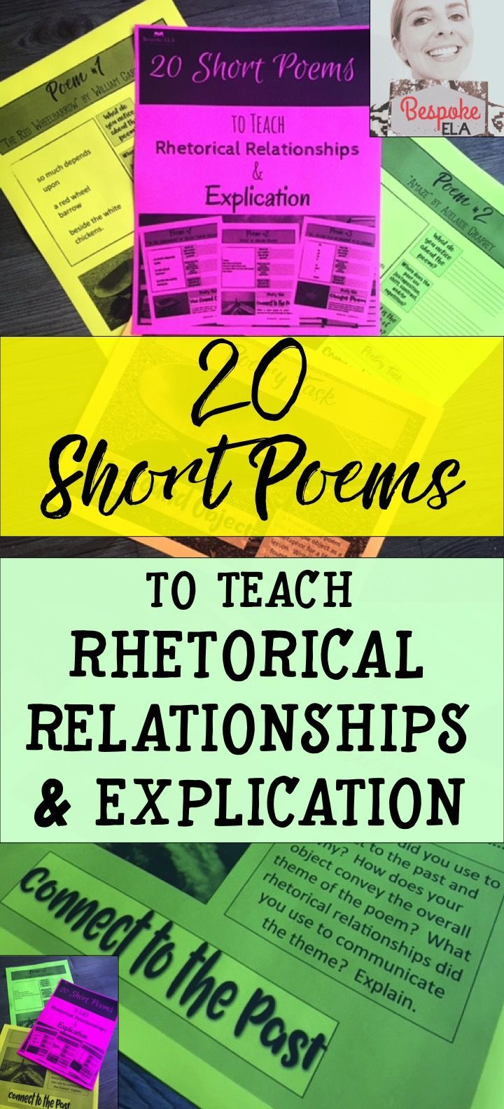 This product by Bespoke ELA contains 20 short poems to analyze for the four, basic rhetorical relationships: juxtaposition, contrast, shift, and repetition. For each poem, students will:  1. Make observations. 2. Identify and analyze the four rhetorical relationships (shift, contrast, repetition, and juxtaposition) 3.  Explain key relationships in the poem.  4.  Write their own original poems.  These lessons are great to use as bell ringers, group practice, or full class exercises.  Bespoke…