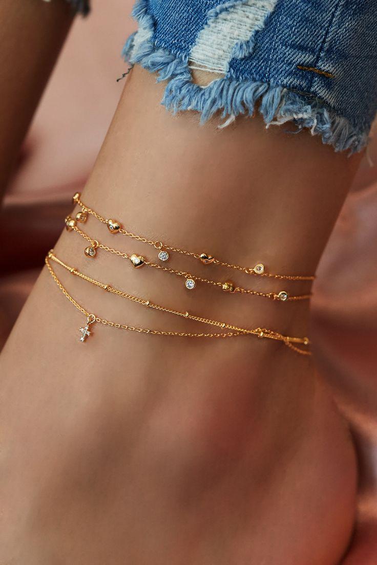 Rue Gembon Gemini Gold Fußkettchen   – Armband