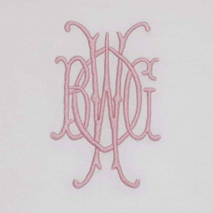 Julia B. A01 Monogram in Light Pink embroidery thread