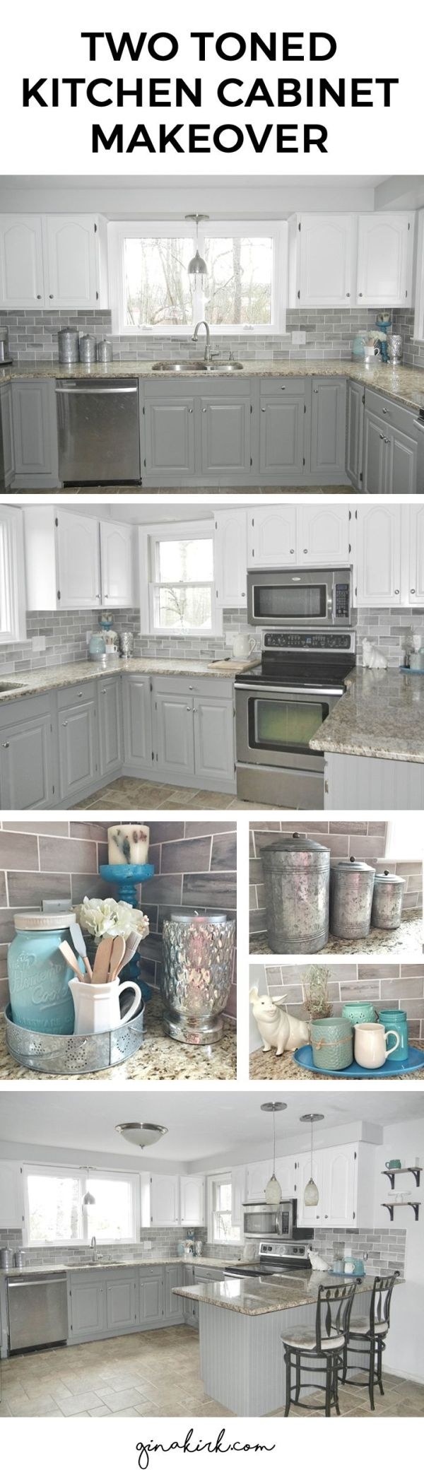 Kitchen cabinet makeover. Oak cabinets to two toned gray and white cabinets (Chelsea Gray and Dove White - Benjamin Moore) Fixer upper inspired design space with subway tile backsplash. Welcome home! ;) by lelia