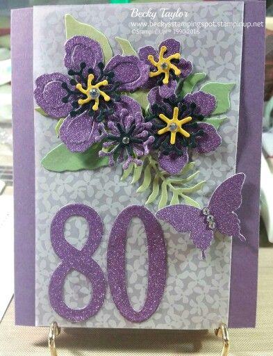 Botanical builder die birthday card big number of years die stampin up
