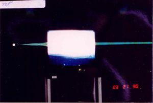 Erland and I had discussed working with lasers aimed at video feedback (on a tv screen) and one day in his lab he got this strange green beam coming out of a tv during one ITC experiment. no voices or faces came out though...
