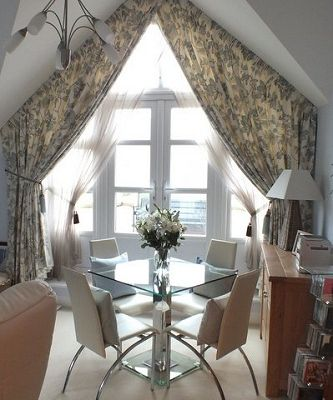 Well this is interesting, Custom Window Treatment with a pointed arch.  From a UK Designer, we can do it too!