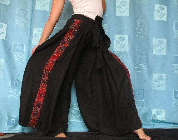 Batik Art Women Pants Long Wrap Boho Hippie Pants by myuniverse
