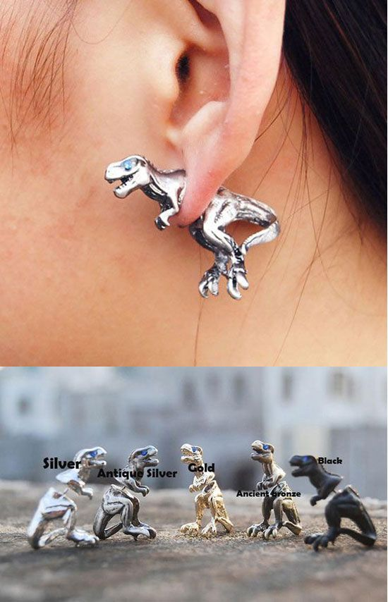 So cute Fashion 3D Dinosaur Animal Earrings stud ! #earring #3D #animal #studs #dinosaur