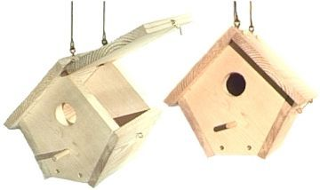 Wren bird house plans.  Like the hinged roof for access to clean it out.  Just needs a cute paint job.  This site has a bunch of different plans