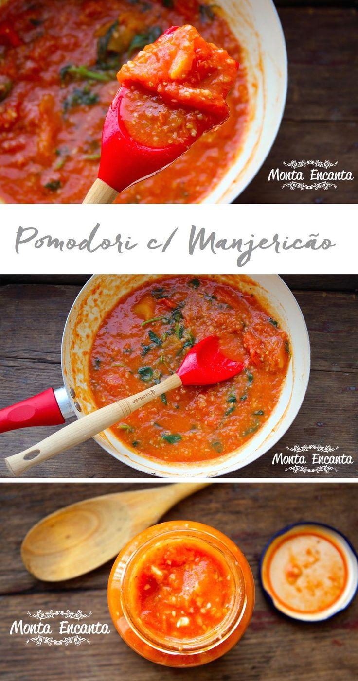 Molho pomodori com manjericão, Azeite, alho, tomate pelado e um maço de manjericão fresco, mais sal e pimenta do reino fazem o reino desta receita.