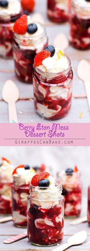 Berry Eton Mess Dessert Shots - an easy and quick no bake, individually portione desserts. Layers of meringue, fresh whipped cream and berry compote make up these delicious Berry Eton Mess Dessert Shots - the perfect, easy summer dessert!