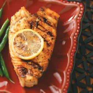 "Easy Grilled Halibut Steaks Recipe -""No one would guess you use convenient ingredients like brown sugar, soy sauce and lemon juice in this simple recipe. I always get compliments."" Mary Ann Dell — Phoenixville, Pennsylvania"
