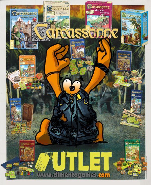 Carcassonne en el OUTLET de Dimento Games.  Un bucólico paseo por las distintas ediciones y expansiones de uno de los imprescindibles que no pueden faltar en tu ludoteca ¡Y al mejor precio!  ¡Pásate por el OUTLET!  http://www.dimentogames.com/107-outlet