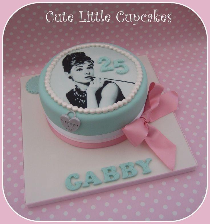 Audrey Hepburn themed birthday cake in powder pink & Tiffany blue x