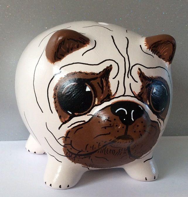 Pug Puppy Piggy Bank Hand Painted Piggy Bank money box Gift Dog
