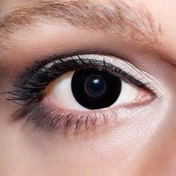 Schwarze Kontaktlinsen farbige Hexenaugen Motivlinsen komplett schwarz Gothic von KwikSibs, intensiv