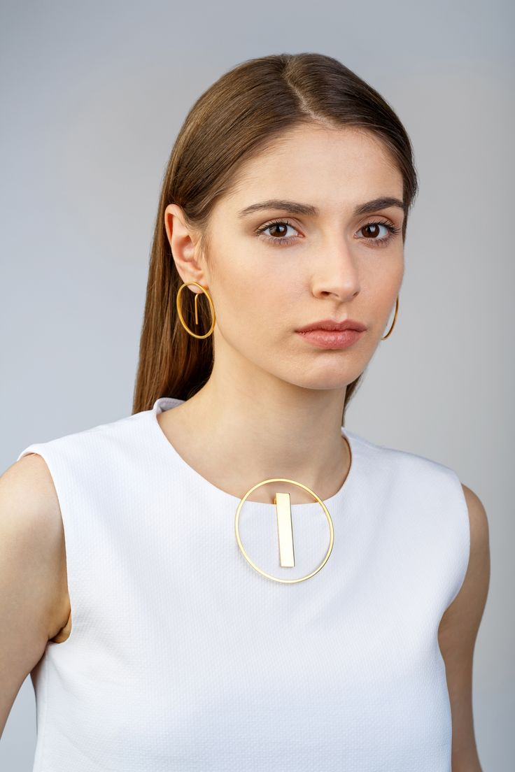 Minimalist Architectural Jewelry - Earrings and Pendant in 18K Gold Plated Sterling Silver by MOPHT Studio