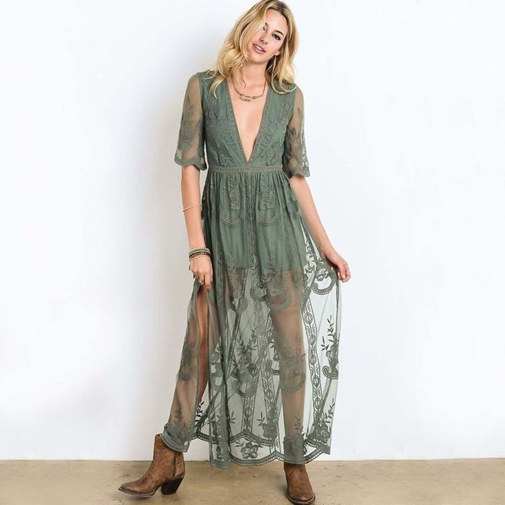 Stunning sage toned lace adorns this gorgeous sage green lace maxi dress.  Shop: www.spool72.com