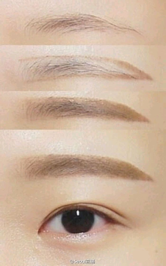 "Korean makeup known as the ""straight brow"" but the ""natural curve brow"" is the new thing"