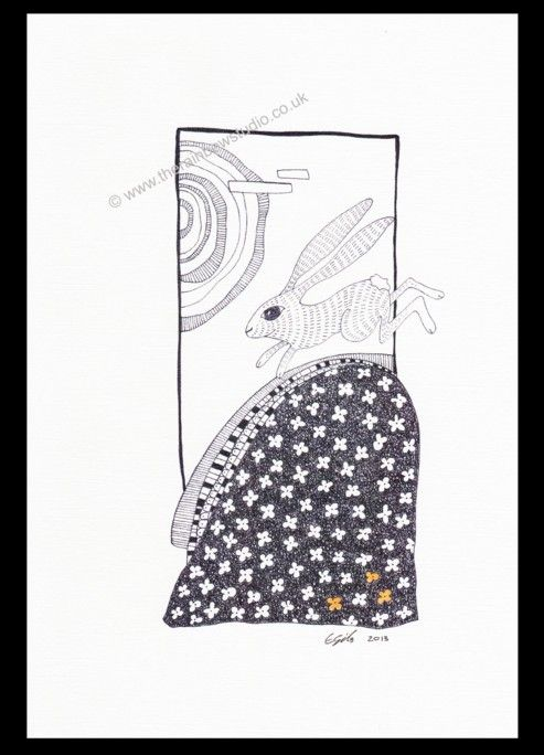 Illustration print by Emma Giles. Hare running on a hill ART009P www.therainbowstudio.co.uk
