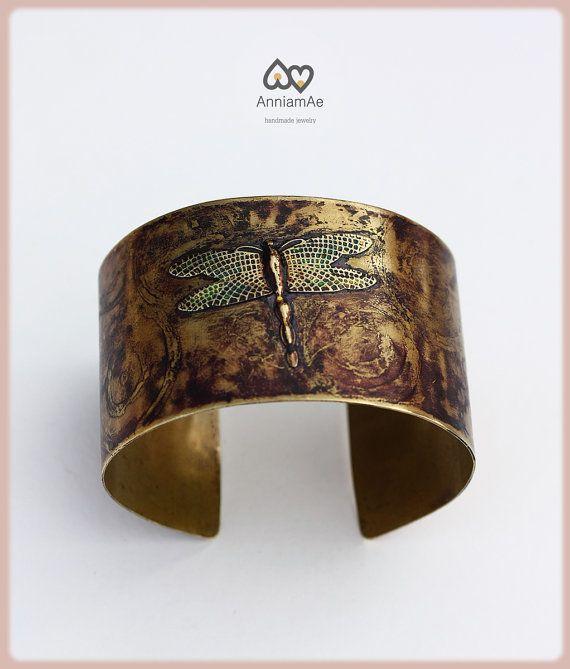 Whismical dragonfly brass cuff: Handforged by AnniamAeDesigns