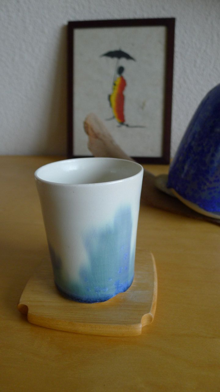 Handmade ceramic cup. White with abstract paintings from crystal glaze by OrientalSpectrum on Etsy