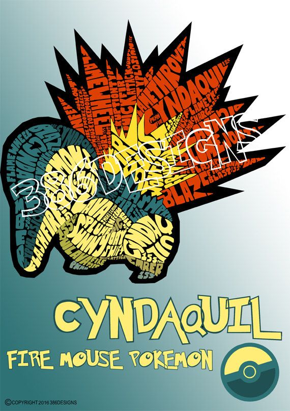 A personal favourite from my Etsy shop https://www.etsy.com/au/listing/227985816/cyndaquil-word-art-print