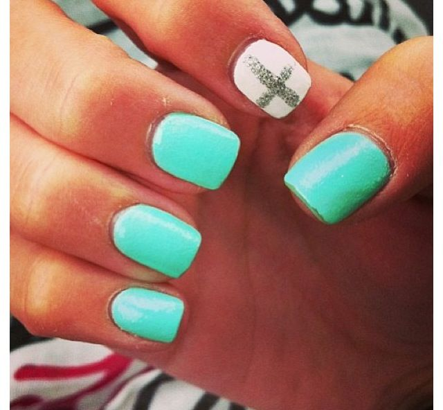 Blue nails with one nail white with silver glitter cross. Love Em!! | Nails!!❤  | Nails, Nail designs, Nail Art - Blue Nails With One Nail White With Silver Glitter Cross. Love Em