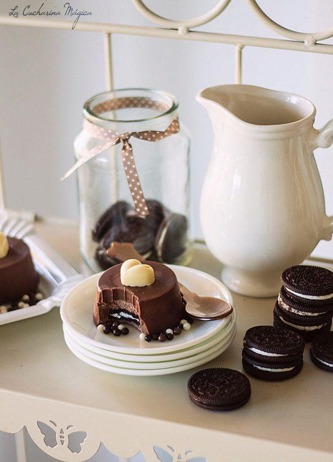 Pasteles de chocolate y Oreos para San Valentín. Receta paso a paso. | La Cucharina Mágica
