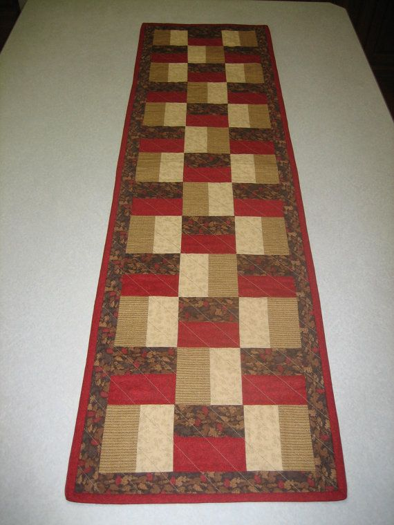 Red and brown fall table runner/fall table by Piecebypiecequilting