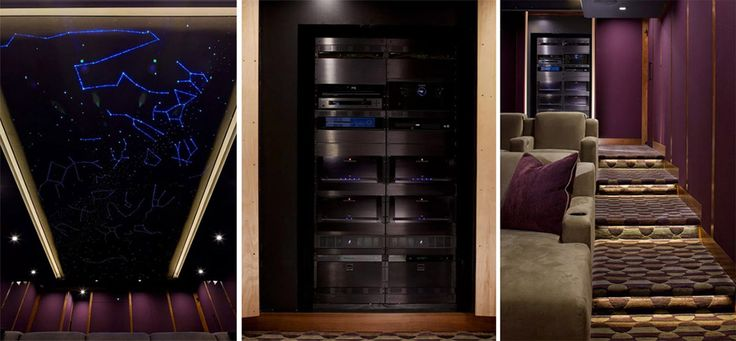 Starlight ceiling, JVC projector, and Dolby Atmos sound system all kick start with one command from an Elan remote.