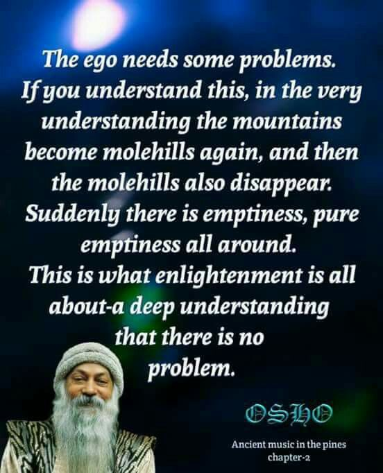 """""""The ego needs some problems. If You understand this, in the very understanding the mountains become molehills again, and then the molehills also disappear. Suddenly there is emptiness, pure emptiness all around. This is what enlightenment is all about - a deep understanding that there is no problem."""" Osho"""