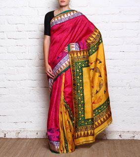 Magenta & Yellow Pure Bishnupuri Silk With Acid Paint